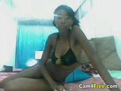 Gorgeous Ebony Teen Strips On Webcam