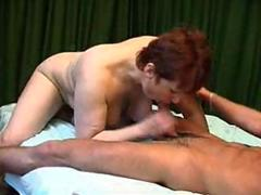 Mature redhead bangs her young lover