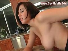 Cute Brunette big ass babe wife doggy style sex in kitchen