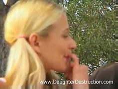 Blonde teen hatefucked outdoor