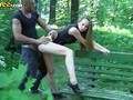 Nasty cute girl fucked in the park by two guys for money