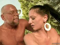 Sexy girl fucking with ugly grandpa but is boned good