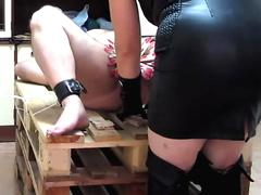 BDSM Fendom CBT Pins and penis spanking with a rubber ruler