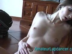 Brunette with amazing body lapdancing