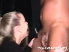 Skanky slutty girls suck off hot male strippers