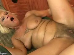 Hot hairy granny fucking with a younger man passionately
