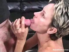 905 Short-haired blonde love to sucks a cock