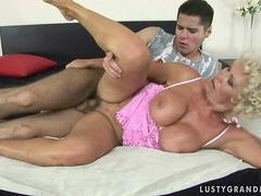 Horny busty granny fucking with a boy