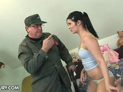 Teen chubby brunette is fucking with an old guy