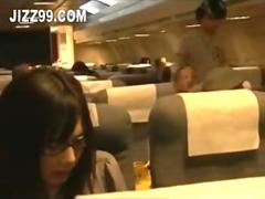 cute glasses girl fucked by geek on plane