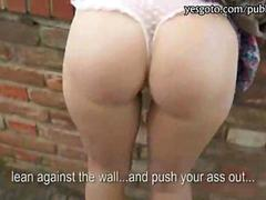 Blondie flashes her round ass and fucked