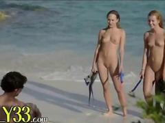 sexy trio havingsex on the beach