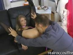 Petite blonde slut Abby H asshole banged deep on the couch