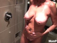 Busty blonde cougar shower fuck