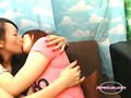 2 Asian Girls Kissing Passionately Sucking Tongues Rubbing Tits On The Couch