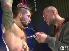 BDSM Master Leo Forte Clamping His Punk Tattooed Slave