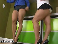 Sexy brunette babes get horny showing feature 2