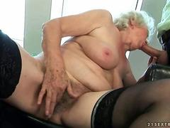 Naughty old lady gets fucked hard by her young lover