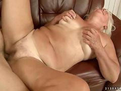 Ugly granny gets fucked hard on the couch