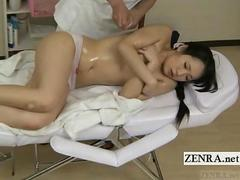 Subtitled CMNF Japanese schoolgirl first oil massage