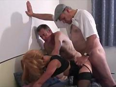 Voyeur Papy fucks a blonde nymph in a threesome