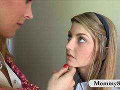 Petite innocent teen gets involved with her mature piano teacher in a threesome