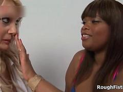 Busty ebony and blonde sluts go crazy muff diving