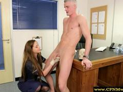 Femdom CFNM nurse and doctor jerk a dude