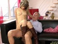 Young european bitch riding dick of an old man
