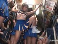 Horny Asian cheerleader is horny on the train