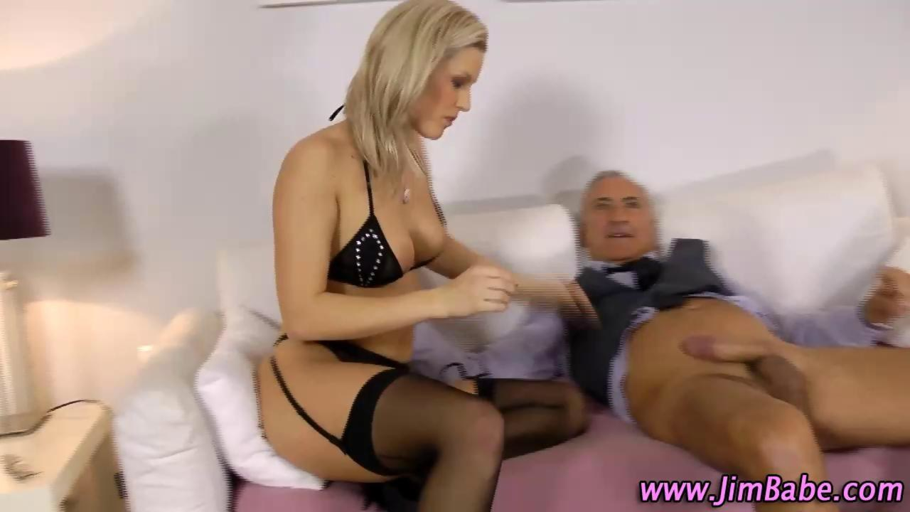 European babe rides oldmans cock after bj 1