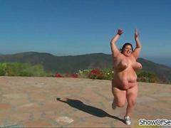 Horny fat girl running naked in public