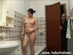 Old pervert watches a teen shower