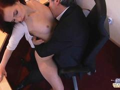 Young naughty assistant fucking her old boss in the office