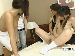 Subtitled Japanese lesbian foursome with some CFNF play