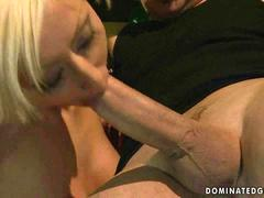 Hot blonde gets tied up and fucked rough