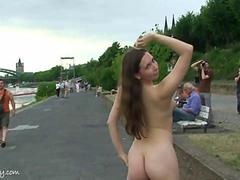 Crazy chick Alisa has fun on public streets
