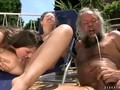 Two guys and a bitch in an extreme pissing threesome