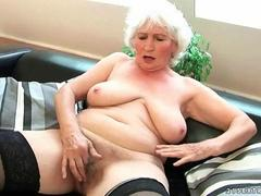 Older lady in stockings takes a dick