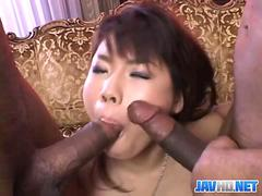 Interracial MMF sucking and fucking with an Asian slut
