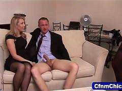 Cfnm mistresses tugging on the eager dudes cock