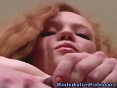 Redhead nylons babe rubs her clit