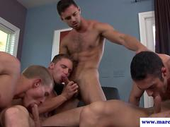 Straight dude enjoying gay orgy