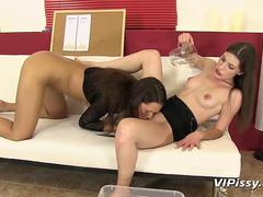 Hot lesbian girlfriends get wet in a pee contest