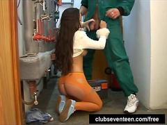 Brunette teen Ellen suck plumbers big cock