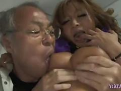Hot Tanned Asian Girl blows a grandpa
