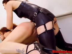 Lesbian strapon fun with two hot babes