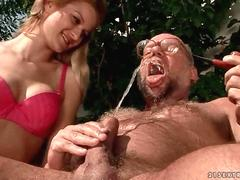 Young beauty and a grandpa pissing and fucking