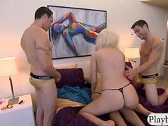 Two new couples swap partner and foursome on the bed