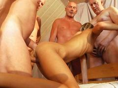Six old men gang bang Gina Gerson in all nasty holes